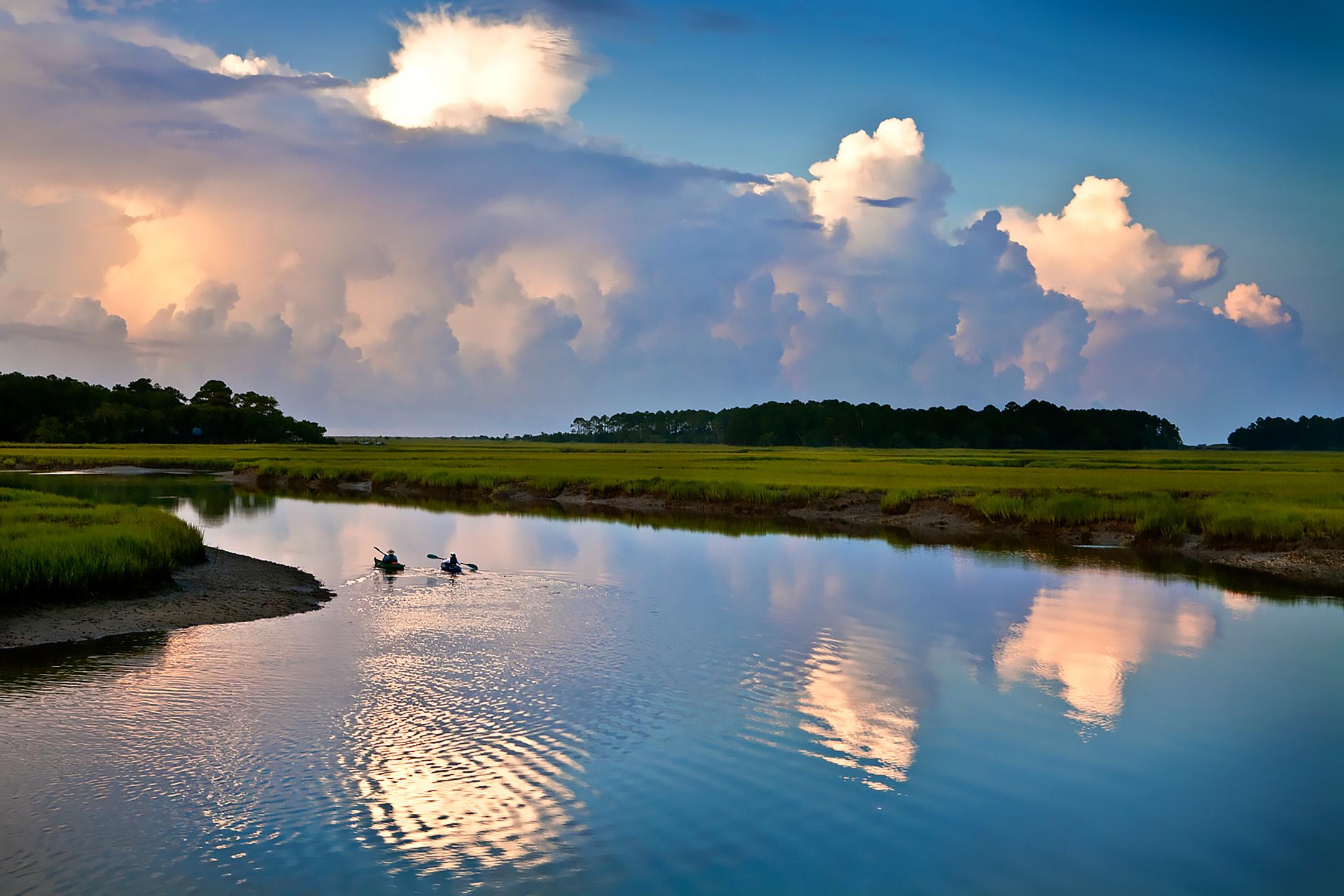 kayakers at dawn